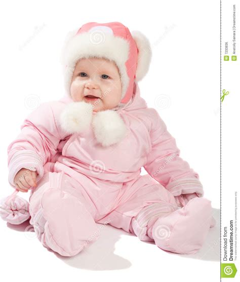 winter clothes baby baby in pink winter clothes royalty free stock image