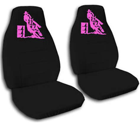 awesome seat covers cool black car seat covers w pink barrel racing awesome ebay