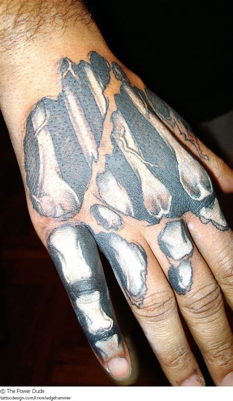 bone hand tattoo a design picture by the power dude evil skull