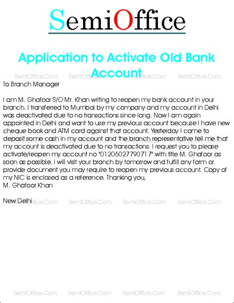 Request Letter Activate Bank Account Request Letter To Reopen Bank Account
