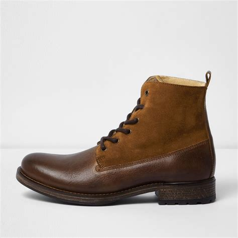 D Island Boots Portland Slip On Leather Brown river island brown leather panel fleece lined boots in