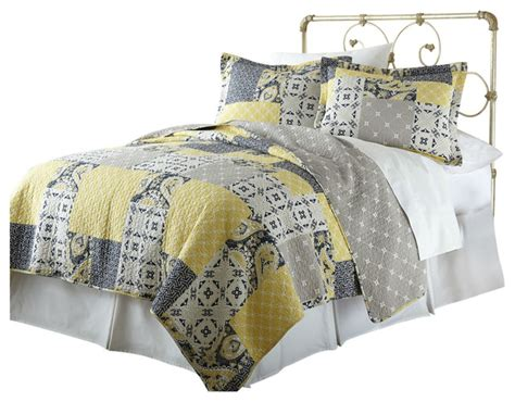 Yellow And Gray Quilt Sets by Shop Houzz Fastfurnishings Size Cotton Patchwork