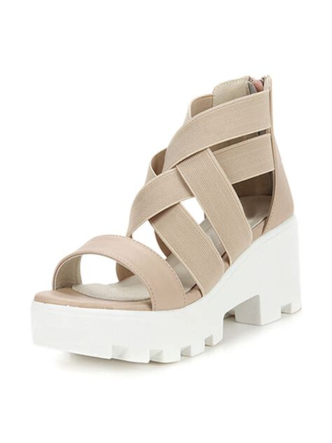 Cross High Heel Sandals beige cross elastic platform high heel sandals choies