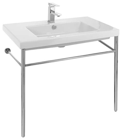 Ceramic Console Sink With Polished Chrome Stand 1 Hole