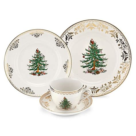 spode 174 christmas tree gold dinnerware collection bed