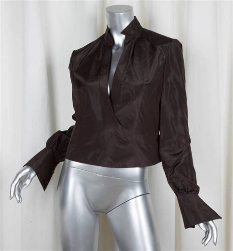 Blouse 7 8 Sleeves valentino womens brown silk taffeta sleeve wrap evening blouse shirt 8 ebay