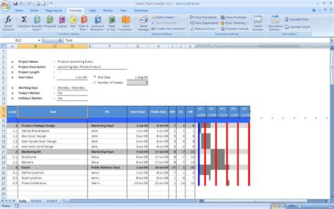 project 2007 templates gantt chart excel templates