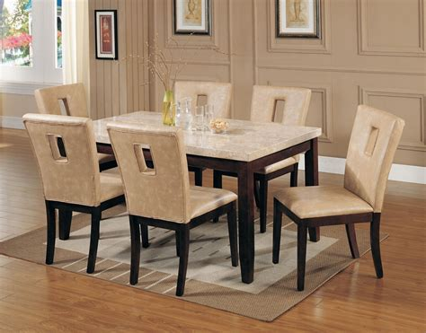 Leather Dining Table White Marble Top Dining Table Set Pu Leather Chairs 7pc