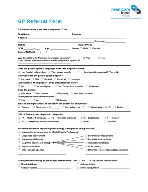 Gp Referral Reports by Fillable Gp Referral Form Fremantle Medicare