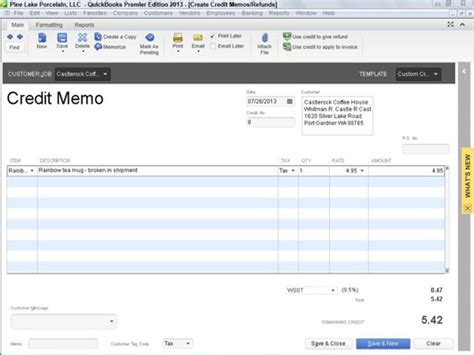 Credit Note Template Quickbooks How To Record Credit Memos In Quickbooks 2013 Dummies