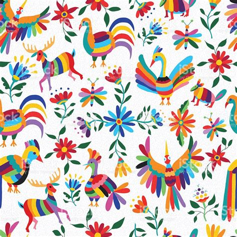 mexican pattern vector art mexican art pattern with animal and flowers stock vector