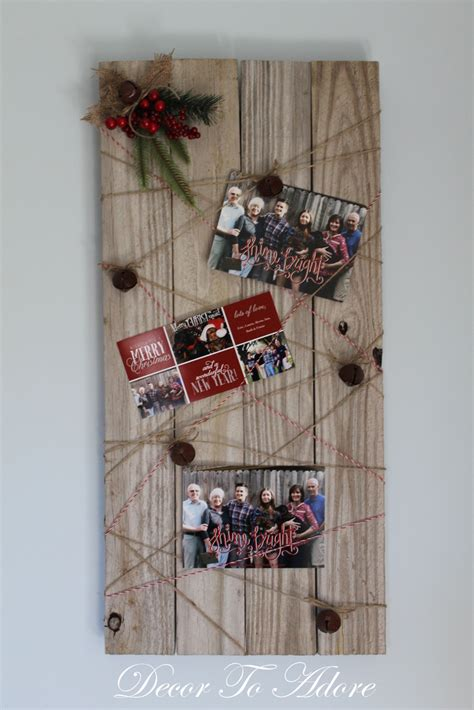 rustic christmas card display tutorial decor  adore