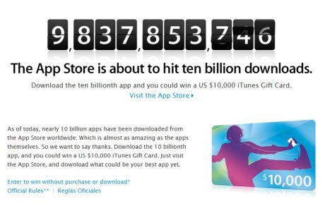 Apps For Gift Cards - apple launches 10 billion app countdown promotion winner to get 10 000 itunes gift