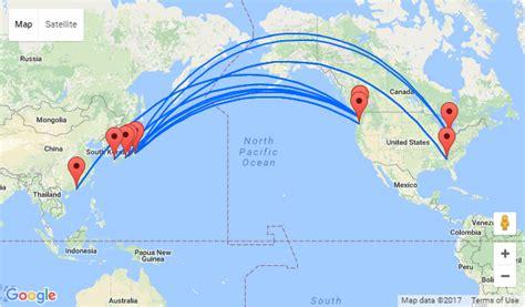 america and japan map japanese cities and hong kong to usa