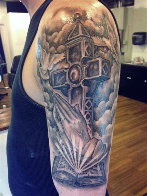 half sleeve tattoo with cross half sleeve cross tattoos www pixshark images