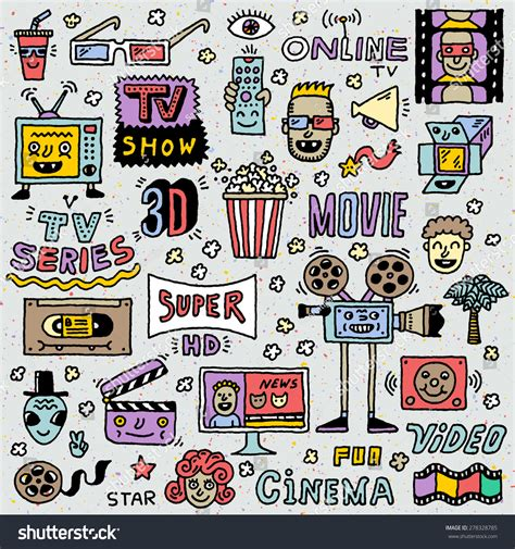 doodle do tv show tv shows series and doodle vector set
