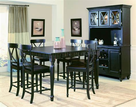 Dining Room Buffet With Hutch by Black Finish Modern Counter Height Dining Table W Optional