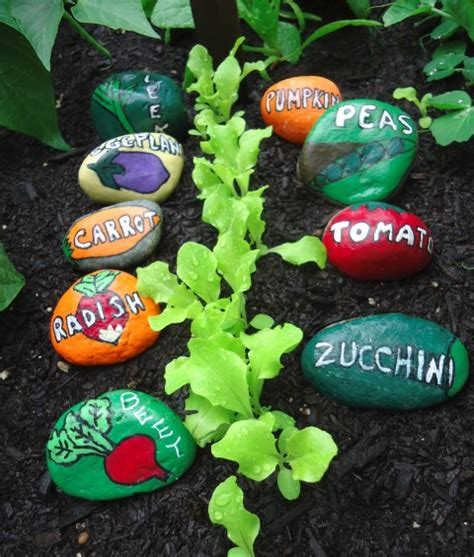 Painting Rocks For Garden Scentsational Garden Therapy Painted Vegetable Garden Markers