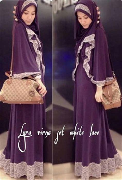 Gamis Syari Set Lyra Virna Collection 5 jual gamis white lace plus bergo ala lyra virna azas moeslim wear