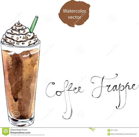 Watercolor Coffee Frappe Stock Vector   Image: 61711601