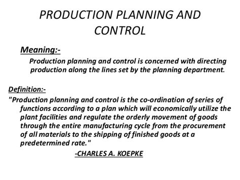 product layout for production planning and control mba ii pmom unit 1 2 production planning control a