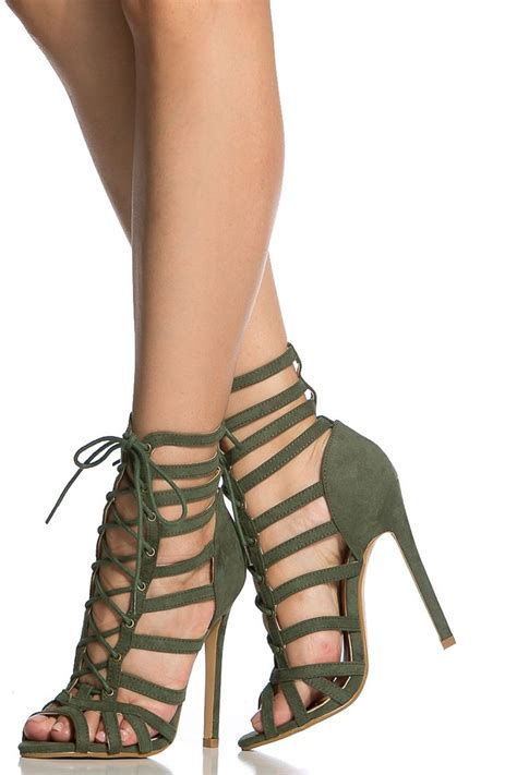 olive faux suede cage lace up single sole heels cicihot