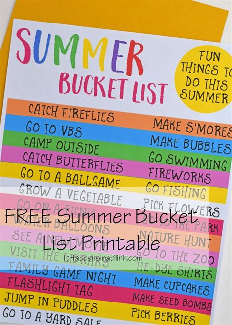 free summer list printable with things for the