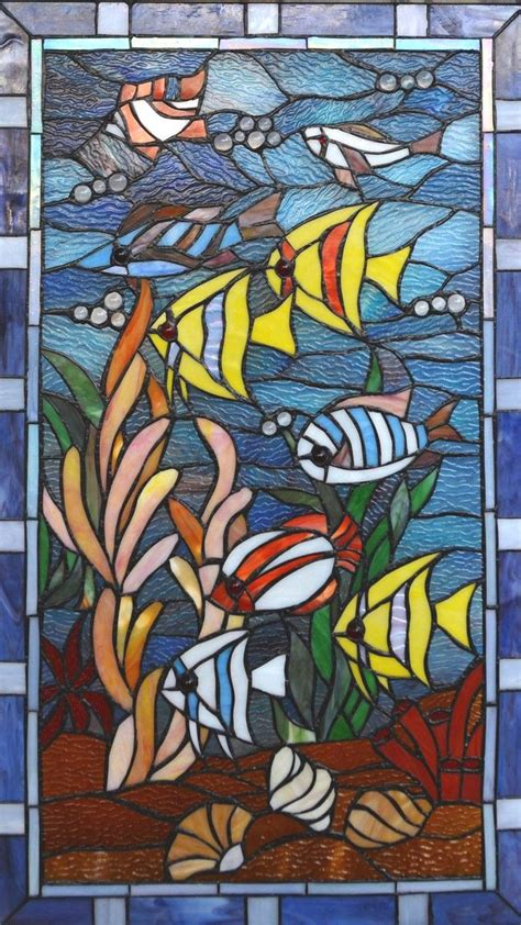 stained glass cross l stained glass fish cross stitch pattern l k
