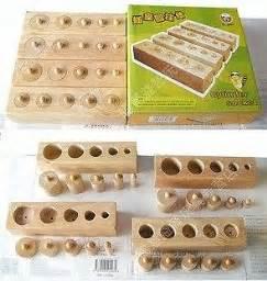 new montessori sensorial knobbed cylinders set original