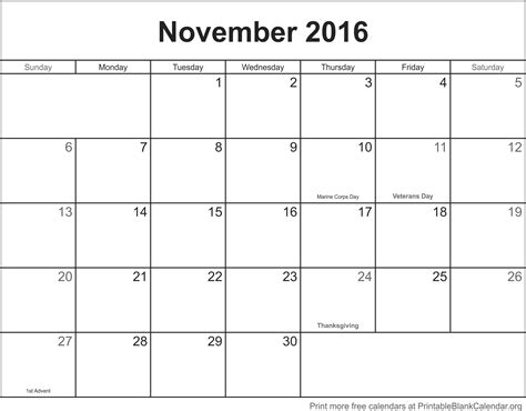 Downloadable Calendar November 2016 Printable Blank Calendar Printable Blank