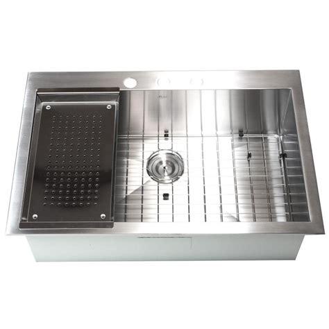 Stainless Steel Kitchen Sinks Top Mount 33 Inch Top Mount Drop In Stainless Steel Single Bowl Kitchen Sink Zero Radius Design
