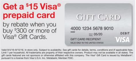 Visa Gift Card Deal - free money 5x at staples 15 rebate on visa gift cards returns miles to memories