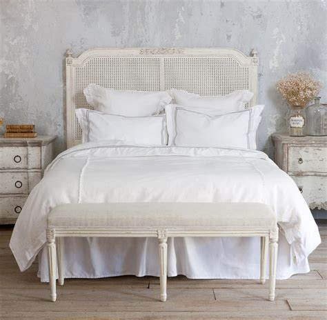 Country Headboard by Blanka Country Antique White Caned Headboard Kathy Kuo Home