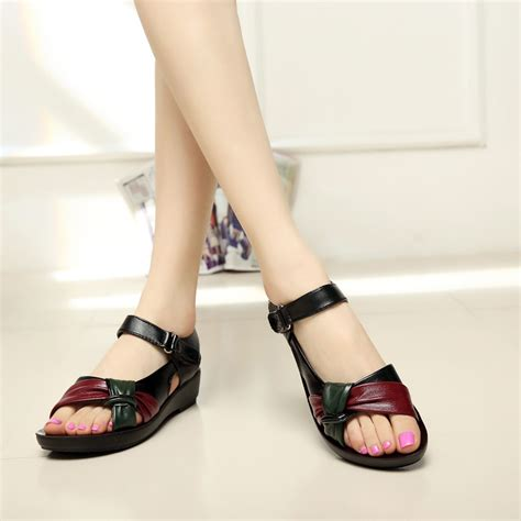 Sandal Jepit Size 9 10 5 Mixed Color 2017 summer shoes flat sandals aged leather flat