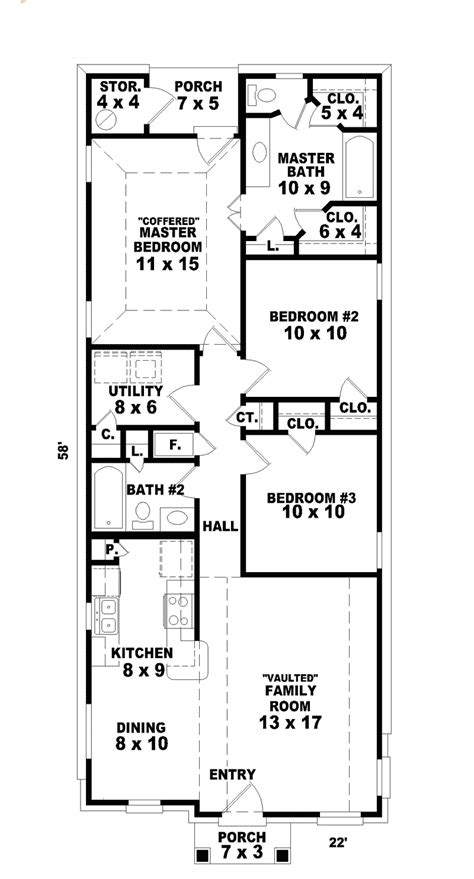 narrow house floor plans hannafield narrow lot home plan 087d 0013 house plans
