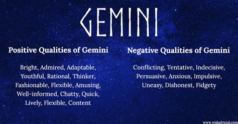 find positives and negatives of your zodiac sign gemini