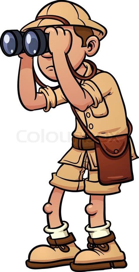 safari guide clipart cartoon safari explorer with binoculars vector