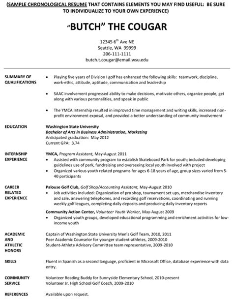 Sle Resume For College Student Athlete Resume Template For College Graduate 19 Images Time Resume Exles With No Experience Resume