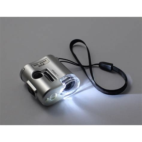 Pocket Microscope 60x Magnifier With Flashlight Uv Light 9592 pocket microscope 60x magnifier with flashlight uv light 9592 silver jakartanotebook