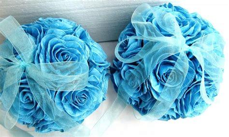 crepe paper flower wedding balls royal navy aqua