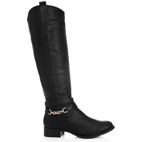 buy thalia flat knee high biker boots black leather style