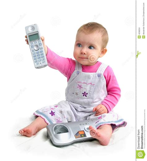The Small Child With Phone Stock Photo Image Of Communication 4038034 Pictures Of Small Children