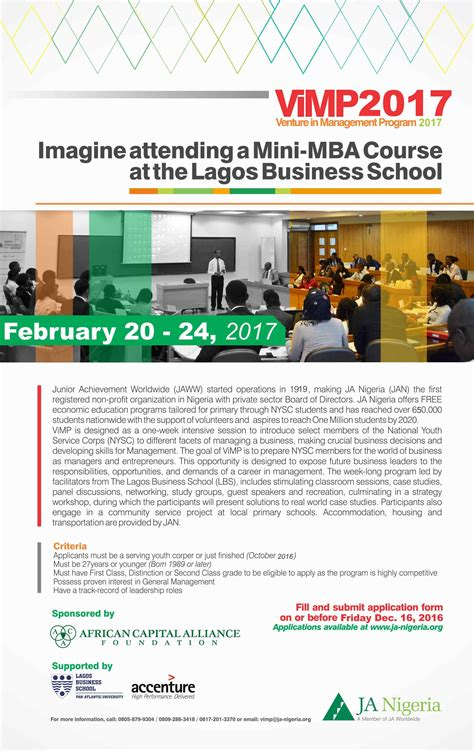 Benefits Of Mini Mba by Junior Achievement Nigeria Venture In Management Program
