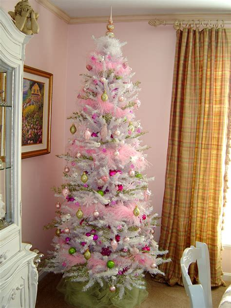 trim the tree thursday my pink and white christmas tree