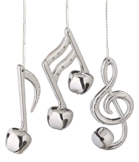 silver bell musical note christmas ornaments set of 3
