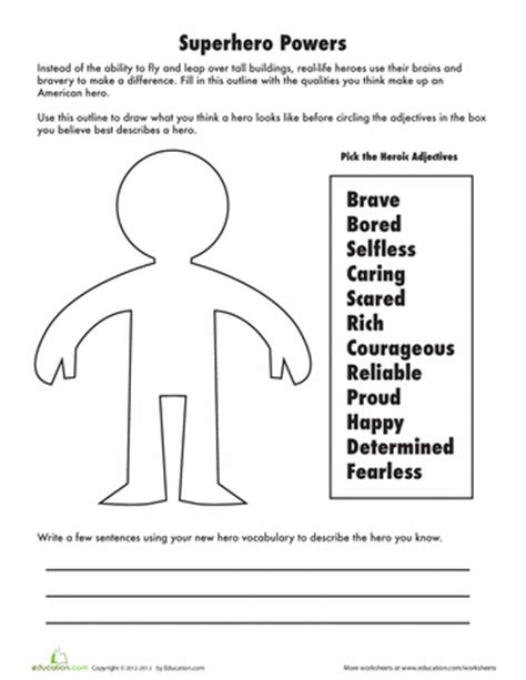heroes printable worksheets adjectives to describe a hero worksheets writing
