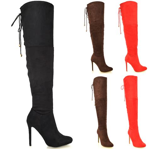 womens the knee thigh high stiletto heel biker