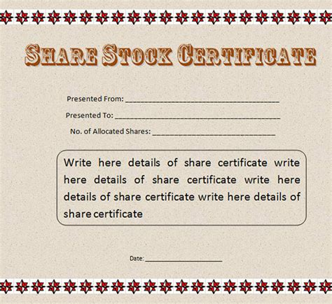 sample share certificate template 40 free stock certificate