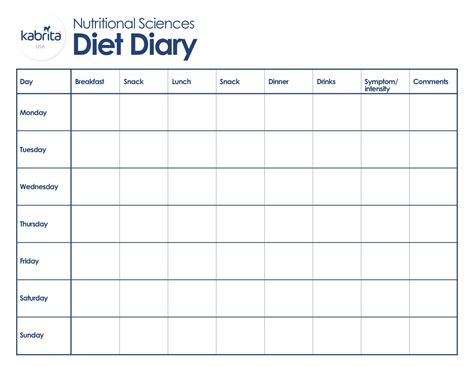 printable food diary for toddlers nutrition archives kabrita