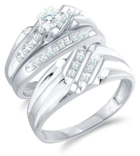 size 4.5 14k white gold diamond mens and ladies couple